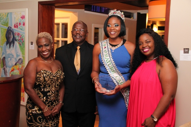 L to R – Mrs. Gabrielle Marlin, Prime Minister William Marlin, Queens Crystal Award Recipient Miss Mature Norrisa Anatol, President Posh Productions Anna Rabess- Richardson