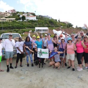 Nature Foundation St. Maarten cleans up Belair Beach with Tourists and Volunteers